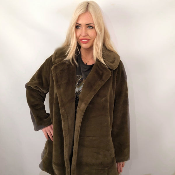 FAUX FUR KAHKI CAR COAT