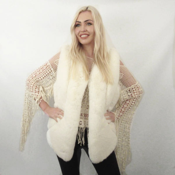 FAUX FUR CREAM SABLE GILLET