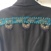 VINTAGE LEATHER SARI TRIM JACKET