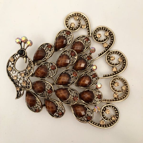 PEACOCK BRONZE BROOCH