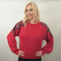 SEQUIN RED RETRO KNITWEAR