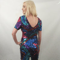 80'S MULTI SEQUIN FLASH VINTAGE DRESS