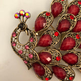 PEACOCK RED BROOCH