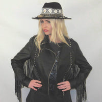 FRINGE TASSLE FAUX LEATHER JACKET