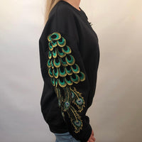 PEACOCK BLACK SWEATSHIRT