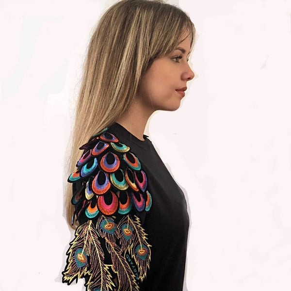 BLACK PSYCHEDELIC PEACOCK T-SHIRT