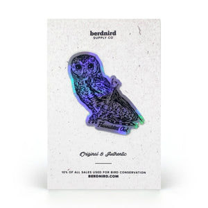 Holographic Flammulated Owl Sticker