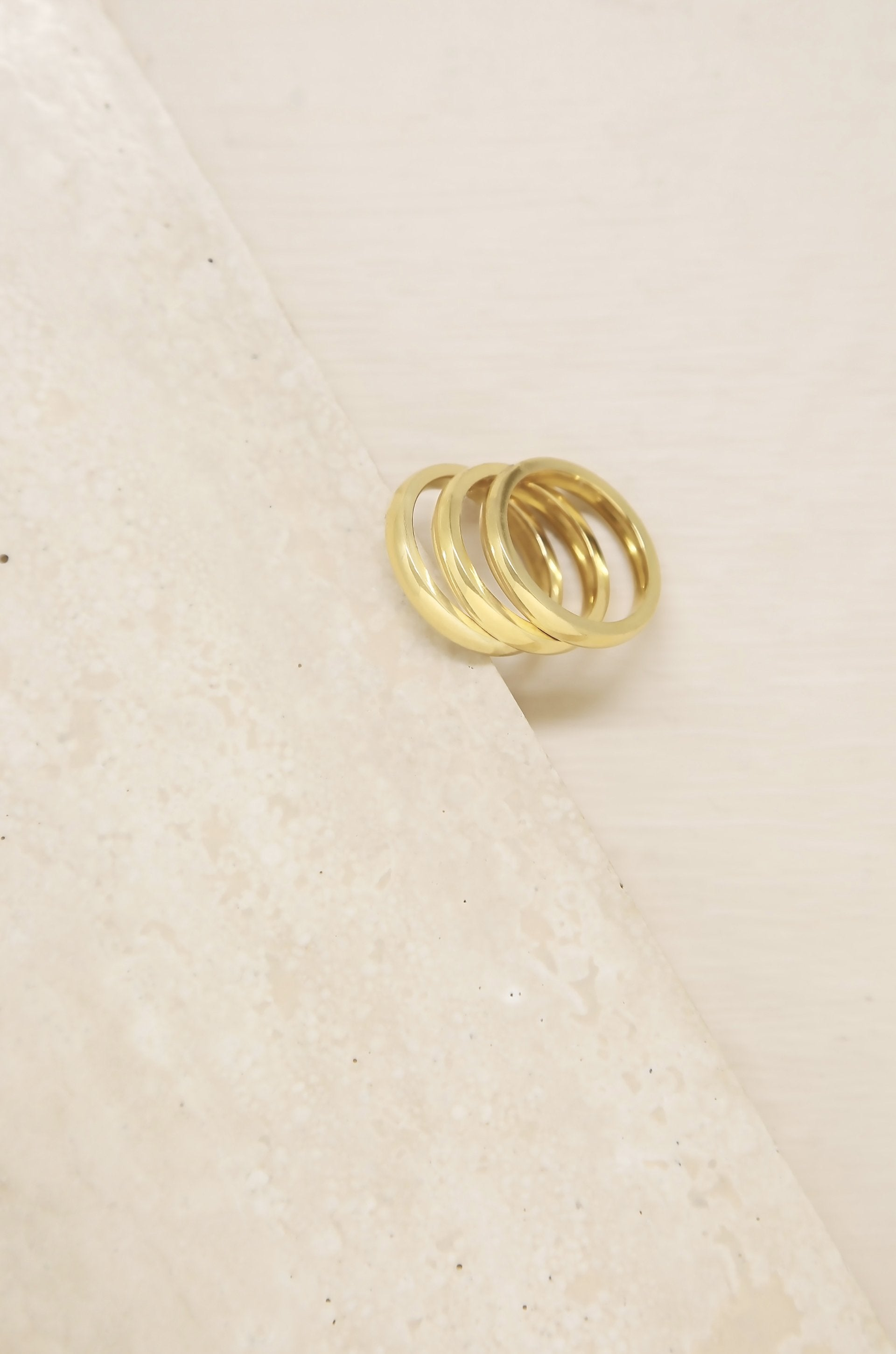 Back to Basics 18k Gold Plated Ring Set of 3 - TRINQUETZ