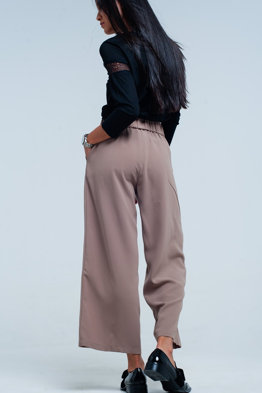 Beige Wide Leg Pants With Buttons - TRINQUETZ