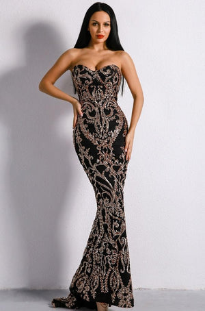 Black Embellished Sequin Gown - TRINQUETZ