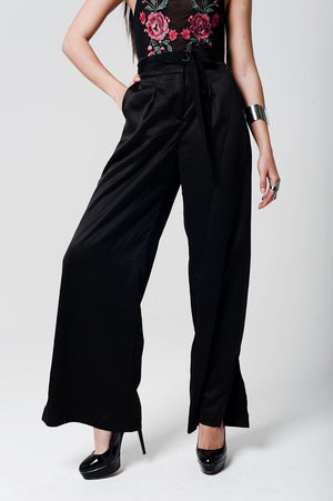 Black Satin High Waist Trousers With Wide Leg - TRINQUETZ