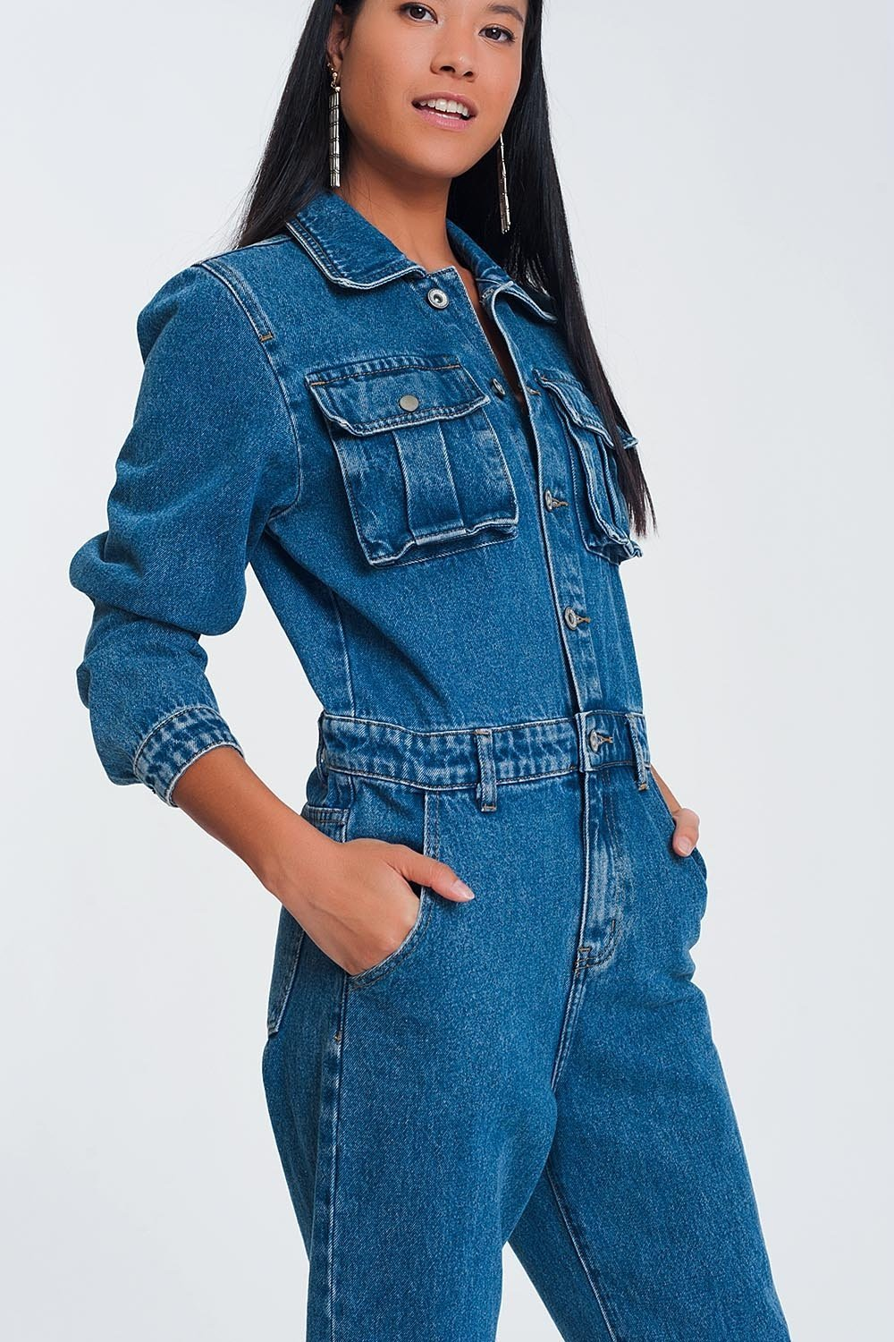 Button Front Jumpsuit in Washed Denim - TRINQUETZ