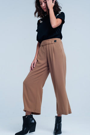Camel Wide Leg Pants With Buttons - TRINQUETZ