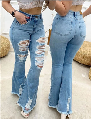 Flare Jeans Women Ripped Wide Leg Jeans Denim Trousers Vintage Bell Bottom Jeans High Waist Pants Ladies Push Up Calca Jeans - TRINQUETZ