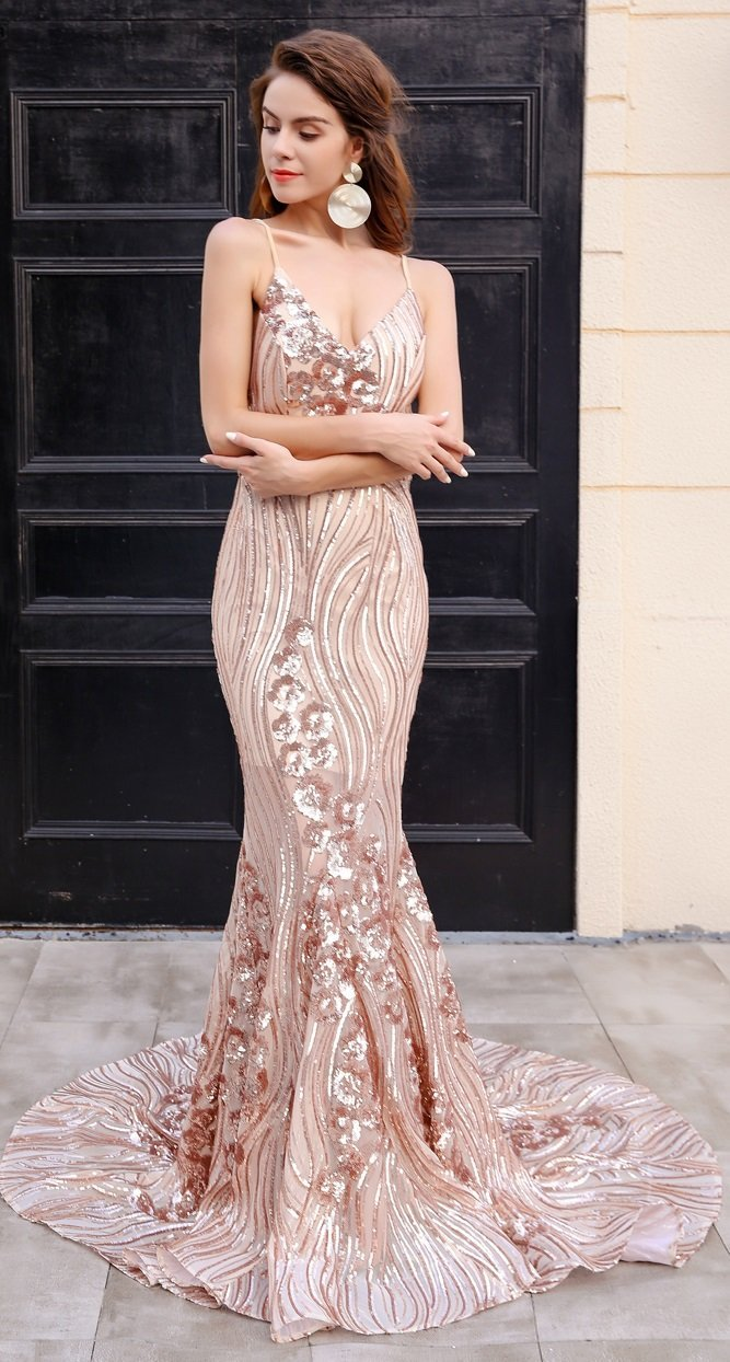 Gold Evening Gown Sequin - TRINQUETZ
