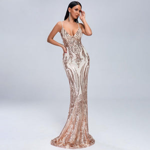 Jazmyn Gold Sequin Gown - TRINQUETZ