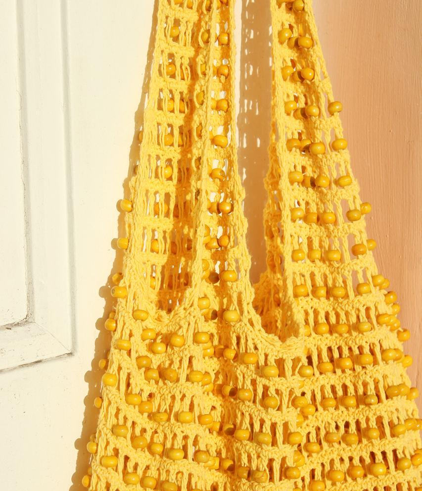 Karma Wooden Beads Crochet Bag in Pale Yellow - TRINQUETZ