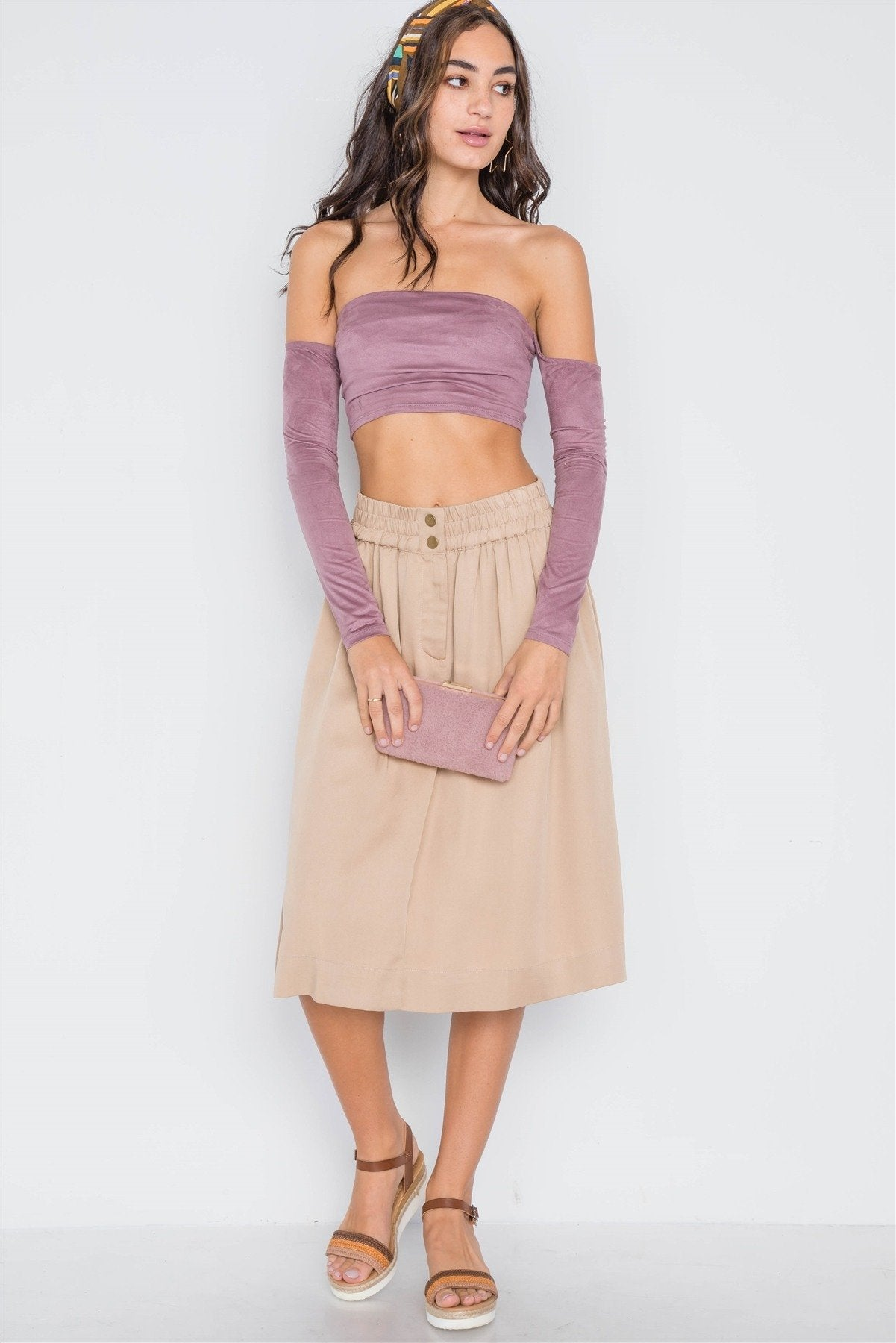 Khaki High-waist Solid Midi Skirt - TRINQUETZ