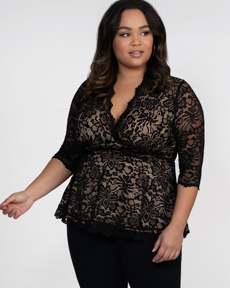 Kiyonna Womens Plus Size Linden Lace Top - TRINQUETZ