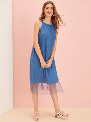 Mesh Overlay Plisse Solid Dress - TRINQUETZ