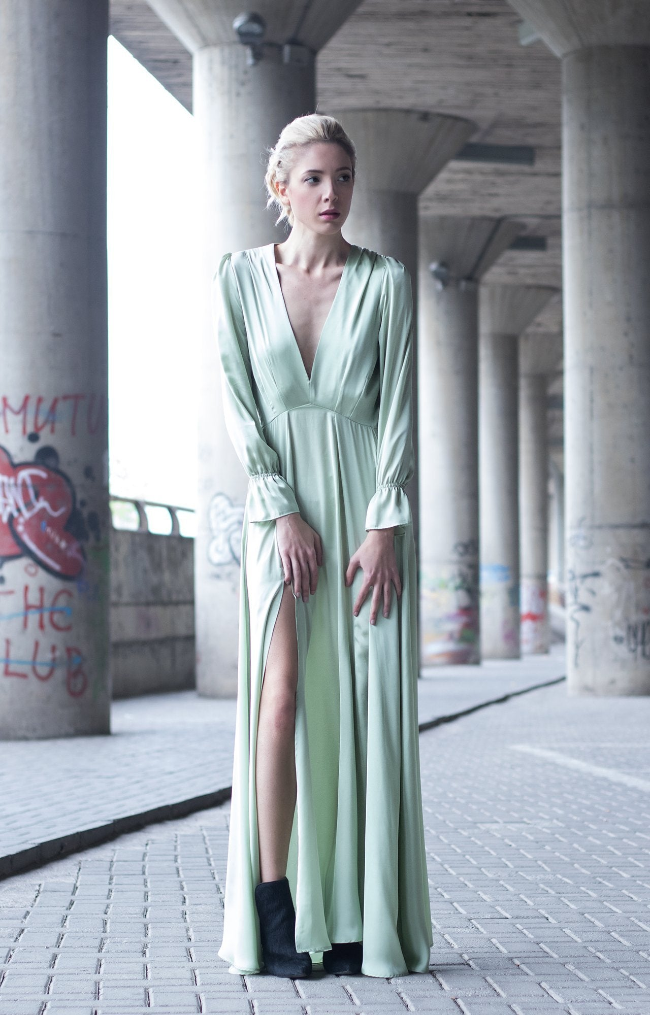 Mint Satin Silk Maxi Dress - TRINQUETZ