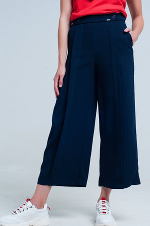 Navy Pants Wide Leg - TRINQUETZ