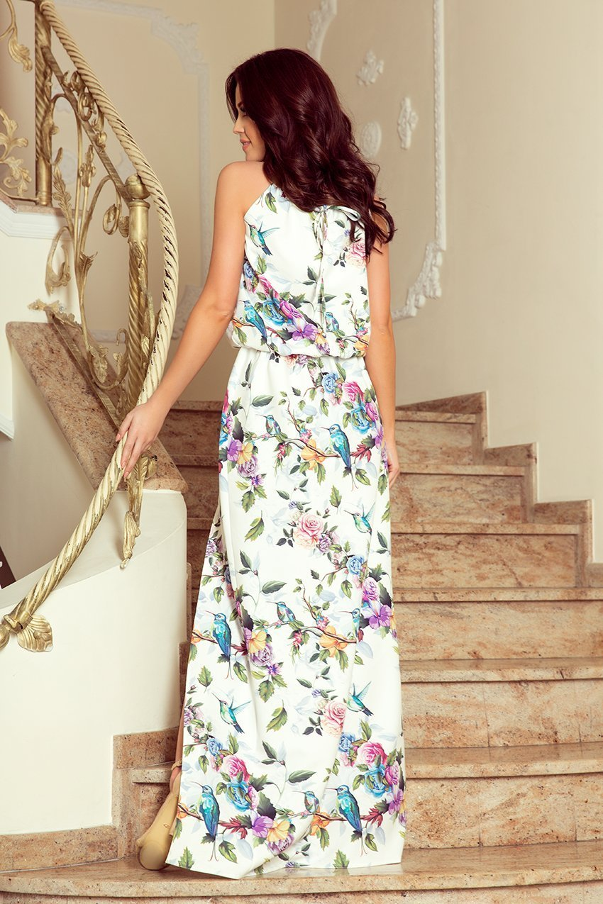 Numoco 191-6 Long dress tied at the neck - colorful roses and blue birds - TRINQUETZ