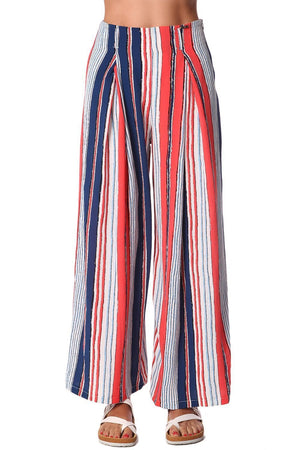 Red Wide Leg Pants in Stripe With Belt - TRINQUETZ