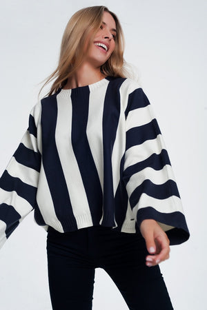 Scoop Neck Sweater in Mono Stripe in Navy - TRINQUETZ