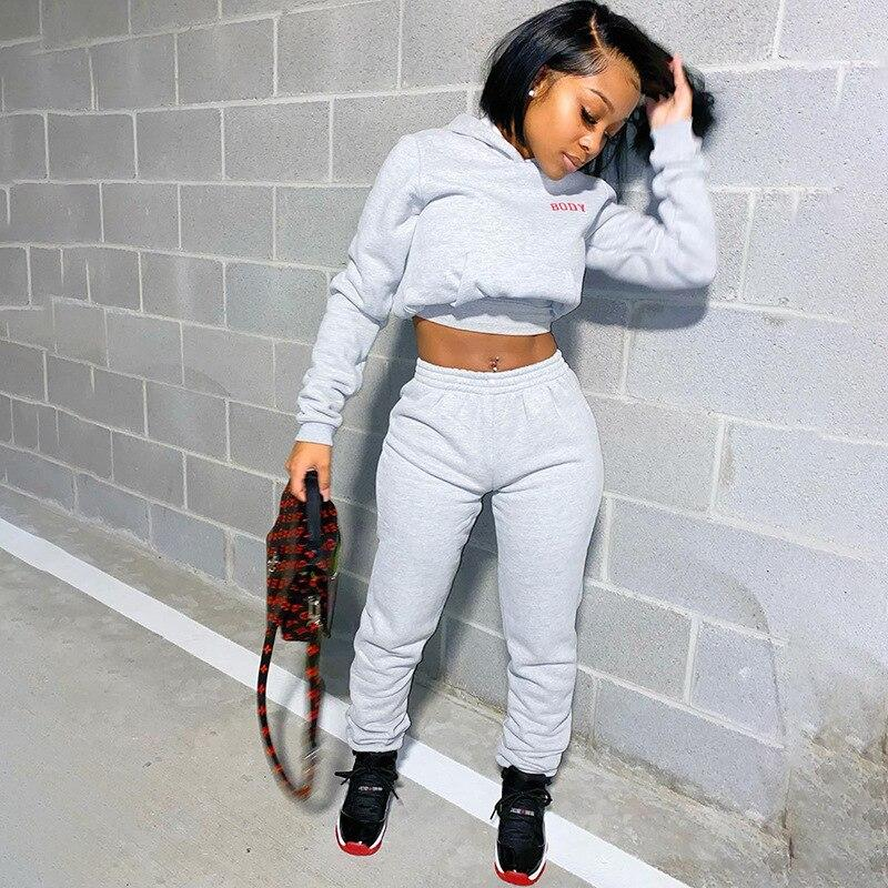 Sporty 2 Piece Set Hoodies and Sweatpants Fall Winter Clothes Women Two Piece Outfits Casual Tracksuits - TRINQUETZ
