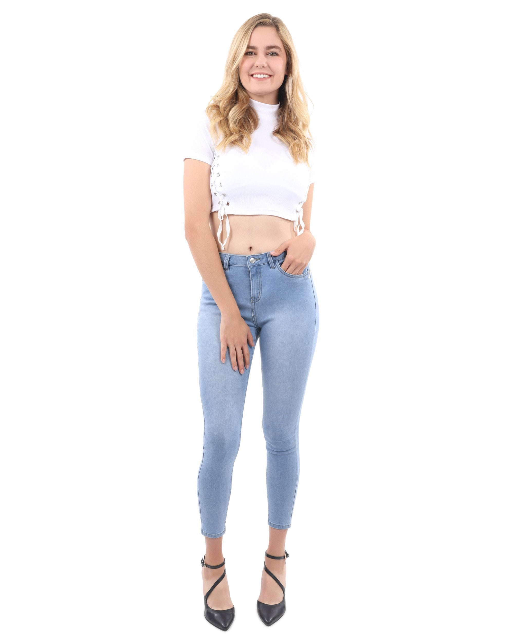 Talus High Waisted Skinny Jeans - Light Blue - TRINQUETZ