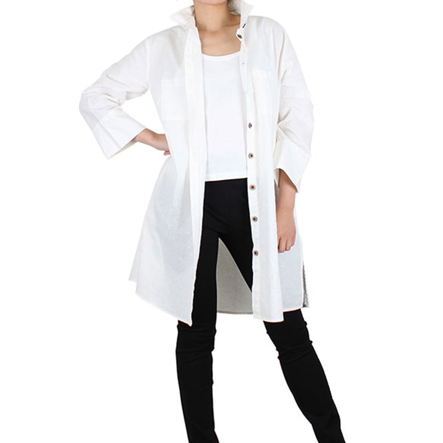 Way Beyoung Women's White Long Sleeve Button-Down Long Jacket - TRINQUETZ