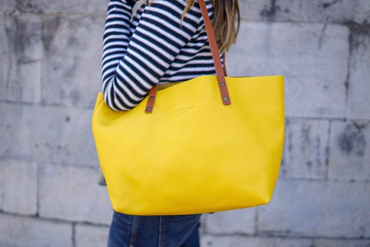 Yellow Leather Tote Bag Smooth Full Grain Leather Totebag Gift Ter - TRINQUETZ