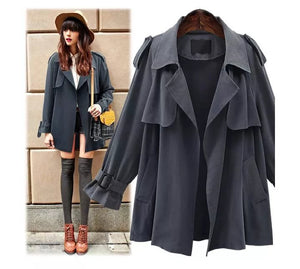 Open image in slideshow, Turn-Down Collar Wool Coat - TRINQUETZ