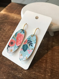 The Summer Garden Earrings - Blue & Peach Floral