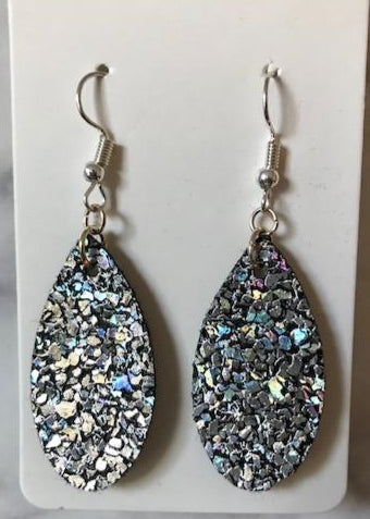 Faux Leather Earrings - Sparkle