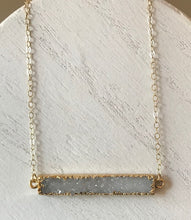 Load image into Gallery viewer, Druzy Gemstone Bar Necklaces in White/Gold