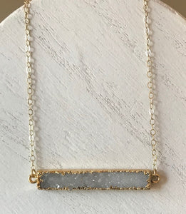 Druzy Gemstone Bar Necklaces in White/Gold