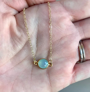 Mini Chalcedony Quartz Round Necklaces in Seafoam Green/Gold