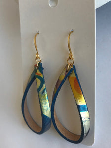 Leather Loop Earrings, Patterned