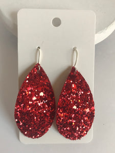 Ruby Red Glitter Teardrops