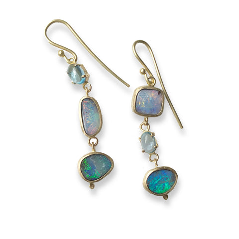 Antiqui Boulder opal and topaz trio drop earrings