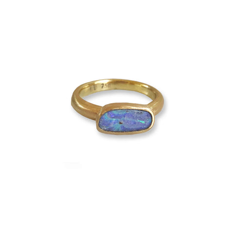 Etrusca stacker ring with purple and teal green solid boulder opal