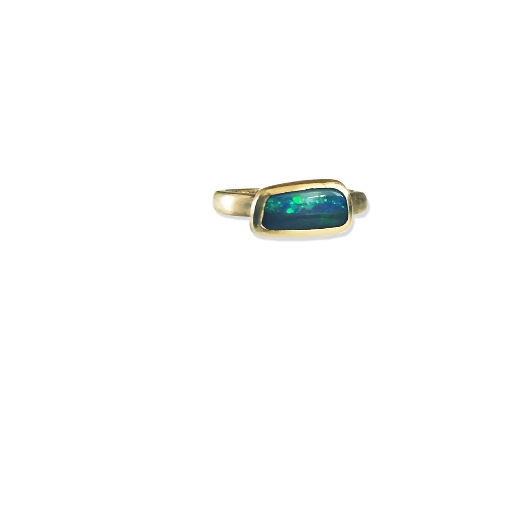Etrusca stacker ring with solid green boulder opal