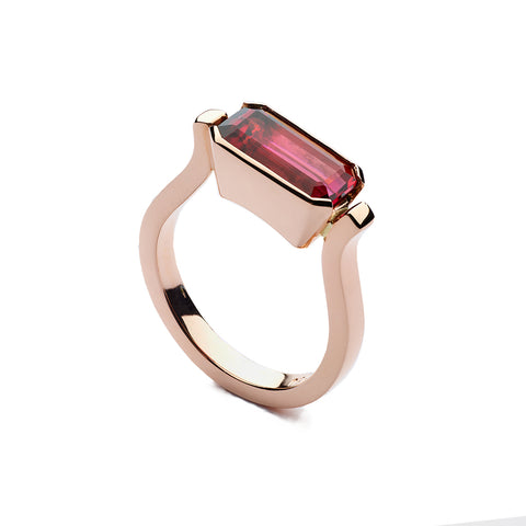 Rubellite Tourmaline Ring in Rose Gold