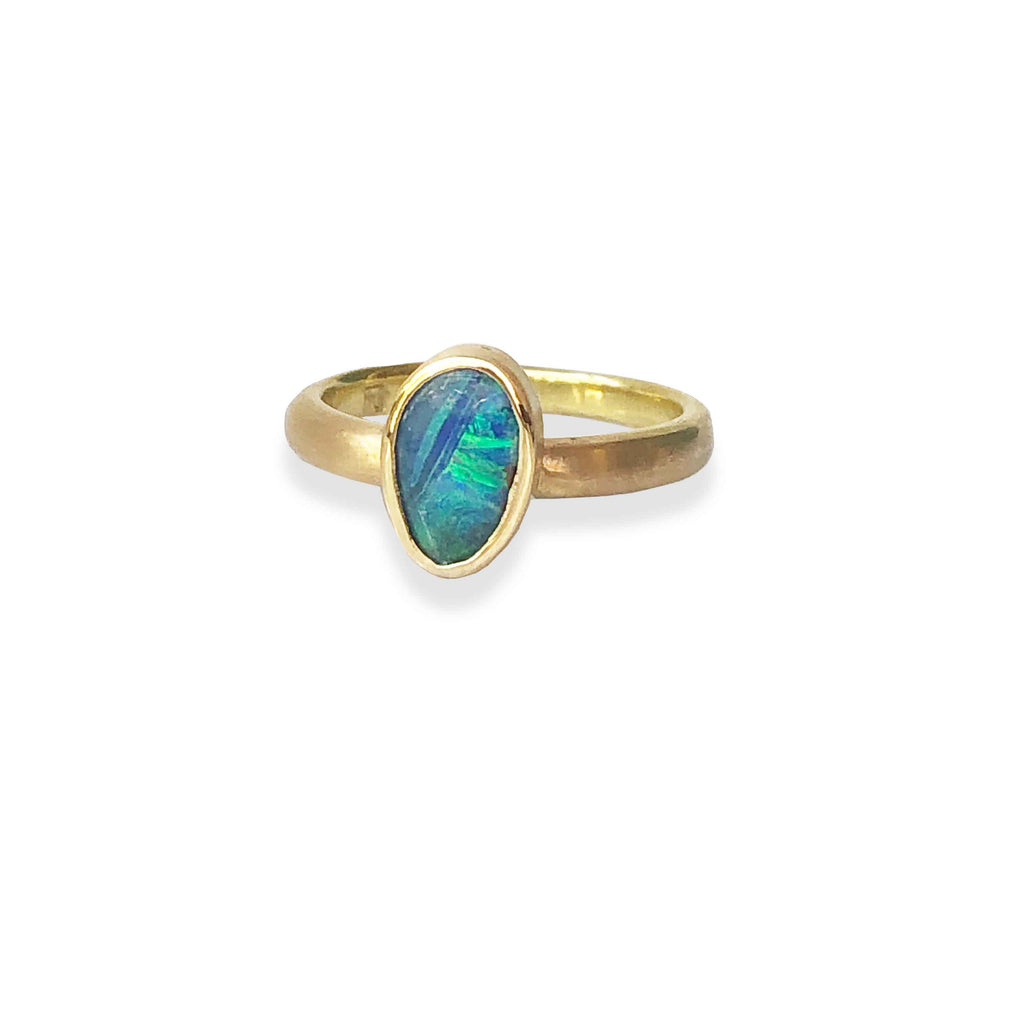 Etrusca stacker ring with green solid boulder opal.