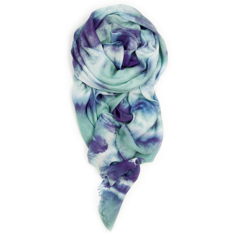 """Double Knot"" Scarf in Aqua/Violet"