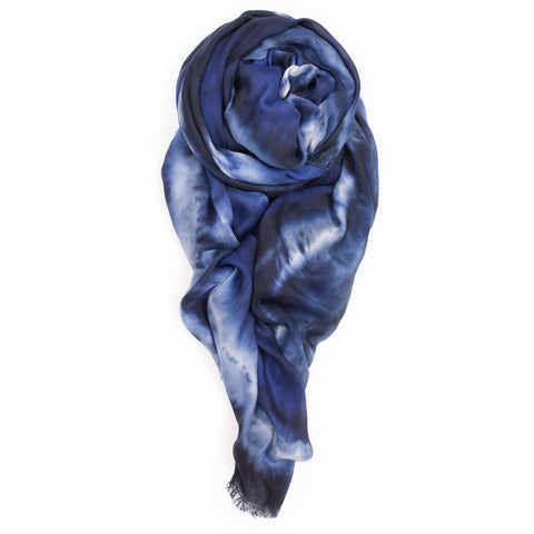 """Double Knot"" Scarf in Blue/Black"