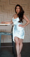 Enchanting Satin Drape Dress- Ice Blue
