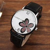Womens Watches Flower Fashion Leather Analog Quartz Vogue Wrist Watch Leather Strap Clock Couple Watches Relogio